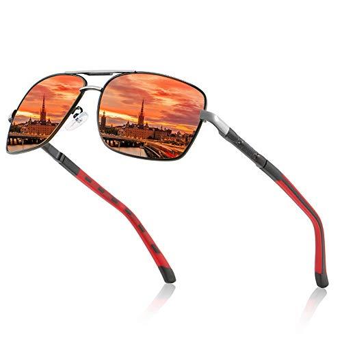 DKEE Gafas de Sol Marco Rojo Gafas Anti-UV Viaje Playa Espejo Montar Turismo Deportes Al Aire Libre Hombres Gafas De Sol De Conducción Marco Ultraligero (Color : Orange)