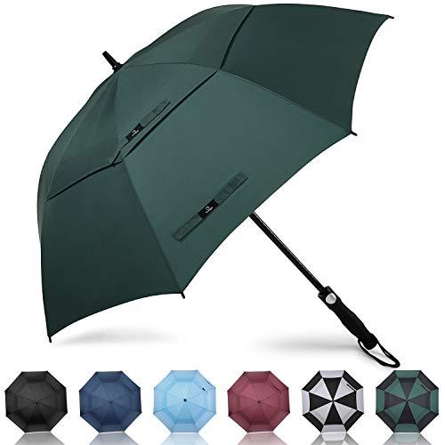 Prospo Golf-Regenschirm, 157,2 cm, groß, robust, automatisch, winddicht, doppelter Baldachin, übergroßer Stab, belüftet, Regen und Schnee, dunkelgrün, 68 inch