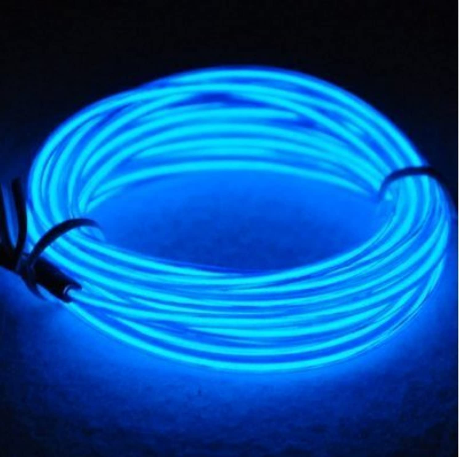 El Wire Kit Blue 9ft Electroluminescent Wire + Battery Pack Glowing Strobing Neon Lights for Halloween Costumes Christmas Party Decorations (Blue)