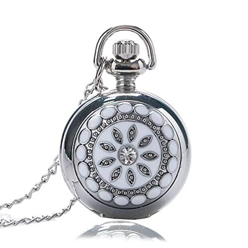 Reloj de Bolsillo de Flor de cerámica, Cristal tamaño pequeño de Cuarzo Bolsillo Collar Colgante para Mujeres Dama niña cumpleaños Regalo