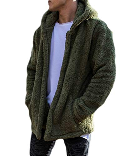 Nicetage Mens Sherpa Pullover Hoodie Cardigans Fleece Oversized Sweatshirts Pockets Outfits (HS135-135 Green XL)