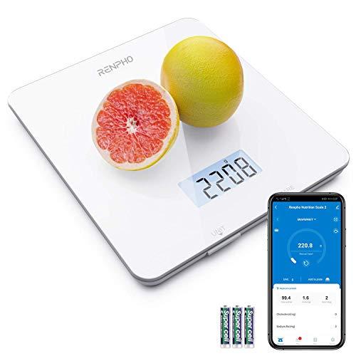 RENPHO Küchenwaage, Digitalwaage mit LCD-Display, Professionelle Haushaltswaage mit Tara-Funktion, Präzision auf bis zu 1g, 5kg Maximalgewicht, Lebensmittelwaage zum Backen und Kochen mit App