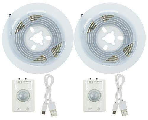 HVTKL 2 oplaadbare batterij onder het meubel, flexibele LED-band met PIR-bewegingsmelder, warme witte deur, nachtkastje, keukenkast, keukenkast, garagemeubels