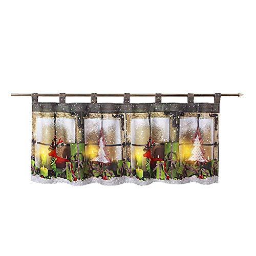 Tischdeckenshop24 LED Scheibengardine Weihnachtszeit für die Küche, beleuchtete Bistrogardine, 45x120 cm, Moderne und transparente Gardine zu Weihnachten