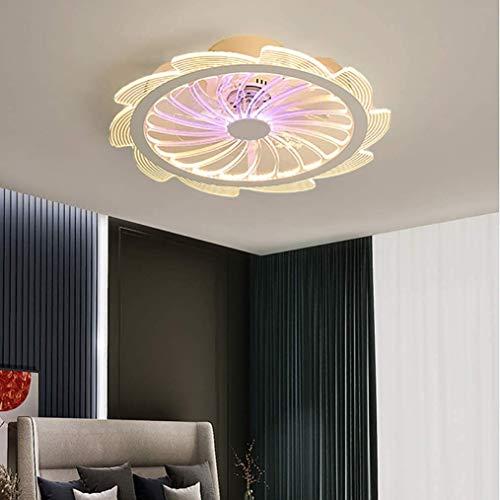 DULG Ventilador de techo LED con lámpara de iluminación Lámpara de techo de lámpara de techo de 42W Lámpara de ventilador Lámpara de ventilador Ultra-silencioso Invisible Ajustable Velocidad de viento