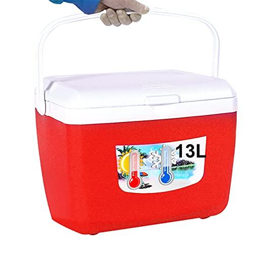 HAN XIU 5L, 13L Cooler Box Camping portátil impermeable plegable térmica bolsa de hielo caja de picnic comida bebida con mano de transporte, rojo, L