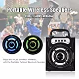 Outdoor Portable Bluetooth Speaker Wireless Super Bass LED USB/TF/AUX/FM Radio
