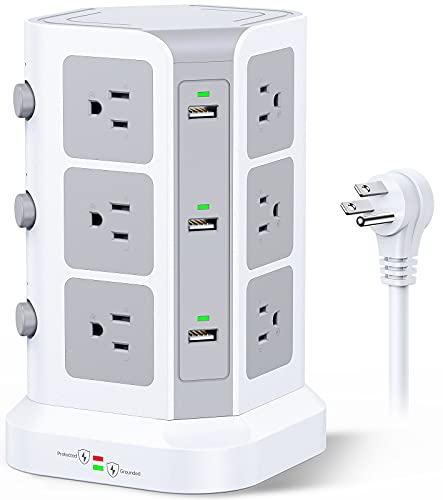 Power Strip Tower by KOOSLA, [15A 1500J] Surge Protector - 12 AC Multiple Outlets & 6 USB Ports, Flat Plug 14 AWG Heavy-Duty Extension Cord 6.5ft for Home, Office, Dorm Room Essentials White