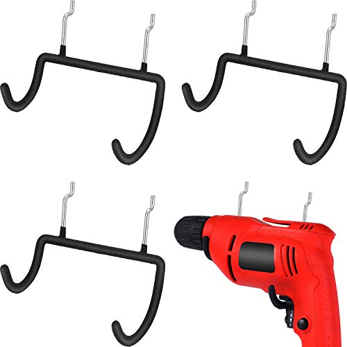4 Pieces Pegboard Drill Holder, Power Drill Holder Pegboard Organization Accessory Pegboard Hook for Organize Tools, Accessories, Workbench, Garage Storage, Kitchen