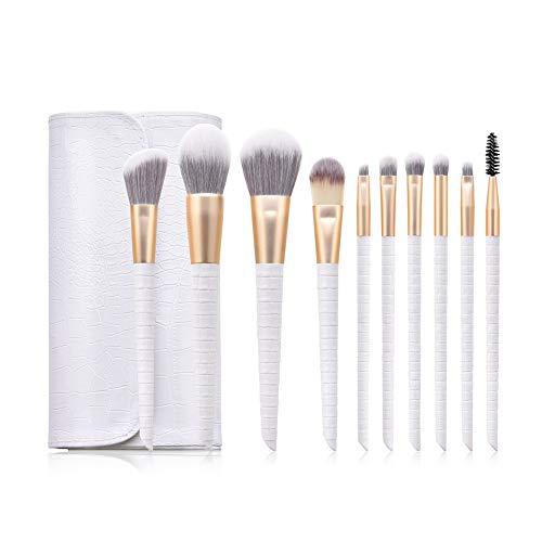 Ensemble de 10 pinceaux de maquillage blanc avec sac Outils de maquillage-Ensemble de pinceaux de maquillage Premium Synthetic Foundation Poudre pour le visage Blush Eyeshadow Brushes Makeup Brush Kit