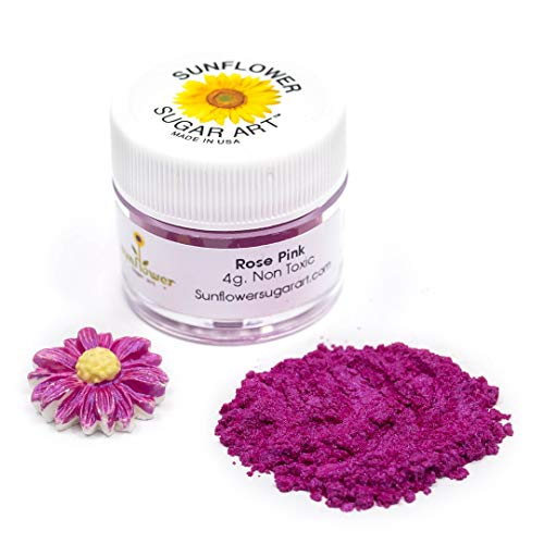 Rose Pink Edible Luster Dust | Edible Powder & Dust | Food Grade Luster Dust for Decorating, Fondant, Baking | Polvo Matizador | Cakes, Vegan Paint, & Dust | Sunflower Sugar Art