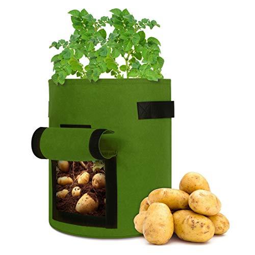 KinCam Pflanzsack,5 Stück 27L/7Gallon Pflanztaschen mit Filzstoff,mit Fenster,Klettverschluss,Griffen,zur Aufzucht von Gemüse für Kartoffeln/Karotten/Tomaten(Grün)
