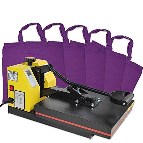 Helo Transferpresse Textilpresse mit 38x38 cm teflonbeschichteter Heiz-Druckplatte, 20 kg Druck durch verbesserter Hebeltechnik und Silikonmatte zur Druckverteilung, inkl. 5 x Taschen in Lila