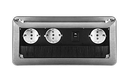 Einbausteckdose 2-4-fach inkl. Ethernet Tischsteckdose Bodensteckdose (3er+Ethernet, silber)
