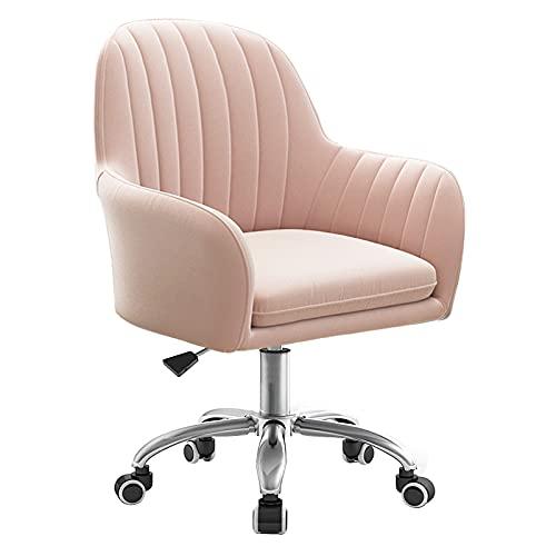LWZ Drehstuhl aus Samt für Wohnzimmer, Schlafzimmer, moderner Schreibtischstuhl für das Home Office, grau/pink