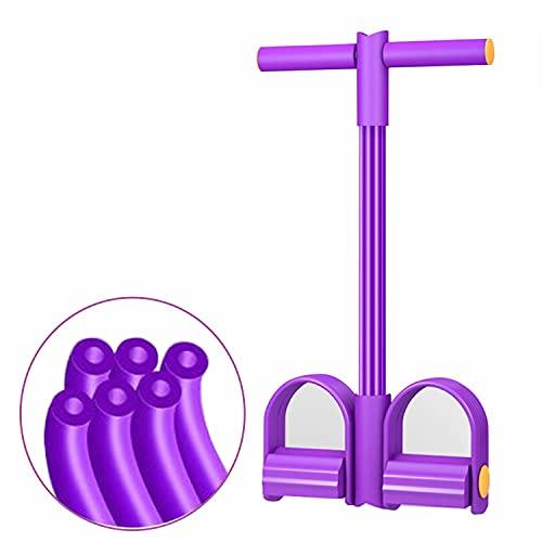 UPSEN Pedal Resistance Band, Bauchtrainer Band, situp Trainingsgeräte, Bodybuilding Expander, 6 Tubes Multifunktionale Leg Exerciser, Elastische Widerstandsband für zuhause (Lila)