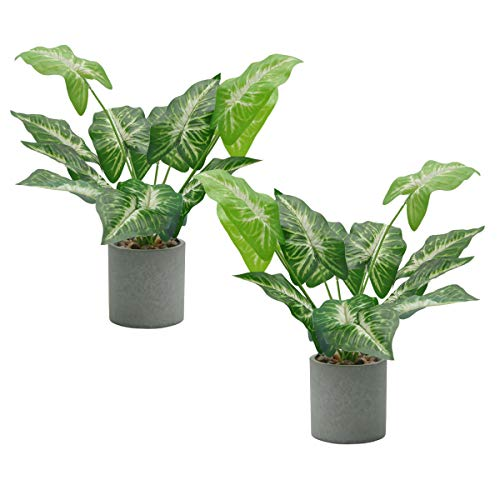U'Artlines Set of 2 Artificial Greenery Plants Potted Fake Topiary Shrubs Green Leaf for Home Office Table Top Décor (2Pcs, Taro Leaf)