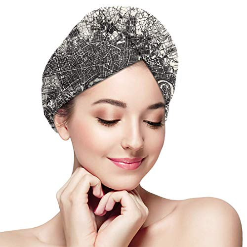 XBFHG Bathing Dry Hair Cap Carte Historique London England from Quick Drying Wrapped Towel Adult Shower Bathing Head Cap