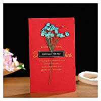 Duo Mei Qi 13色クリエイティブなドライフラワー+ペーパーカード折りたたみタイプグリーティングカードクリスマス誕生日パーティー結婚式の招待状 (色 : B14)