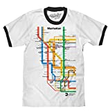 Tee Luv Manhattan Metro Ringer Shirt - NYC Subway Map Graphic T-Shirt (White/Black) (XL)
