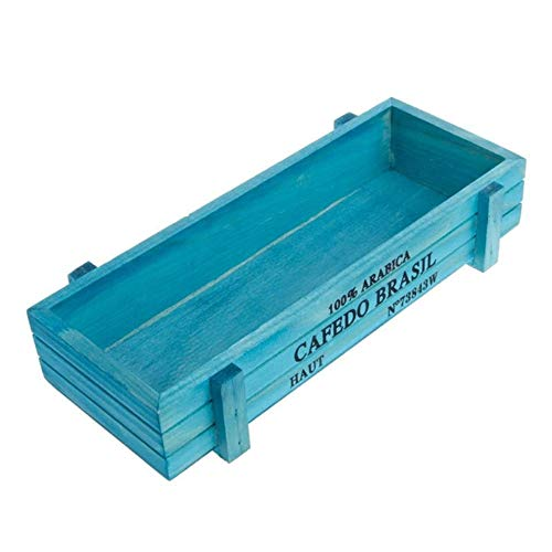 VIDELLY Wood Planter Vintage Wood Garden Flower Planter Box Rectangle Flower Bed Pot Planting Container for Succulent Herb Flower Succulent Vegetables Indoor Outdoor, 8.85 x 3.3 x 1.96 inch,Blue