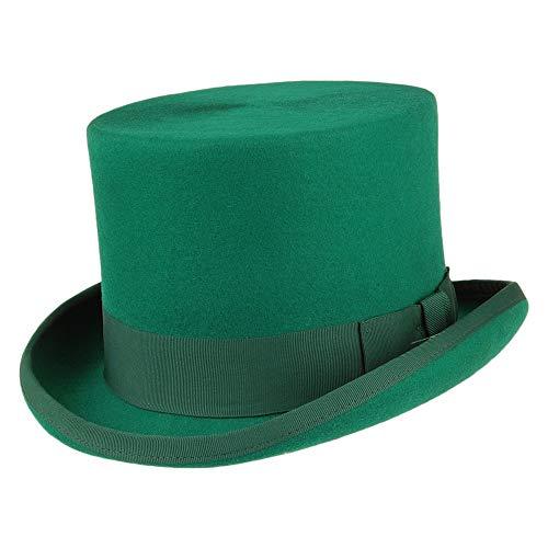 Village Hats Chapeau Haut de Forme en Laine Feutrée Vert Denton - Large