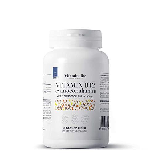 Vitamina B12 de Vitaminalia | Cianocobalamina 2000 mcg | Suministro para 1 Año (12 Meses) | Suplemento para Veganos y Vegetarianos | Vegano, Sin Gluten, Sin Lactosa, 365 Tabletas