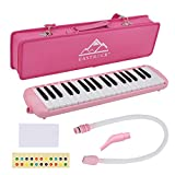 EastRock 37 Key Melodica Instrument Keyboard Soprano Piano style with Mouthpiece Tube Sets and Carrying Bag for Kids Beginners Adults Gift Pink