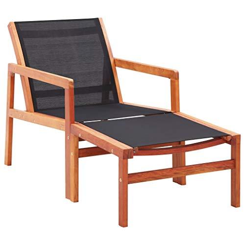 vidaXL Eucalyptus Chaise de Jardin avec Repose-Pied Chaise Longue de Patio Transat de Terrasse Siège d'Extérieur Chaise d'Extérieur Textilène