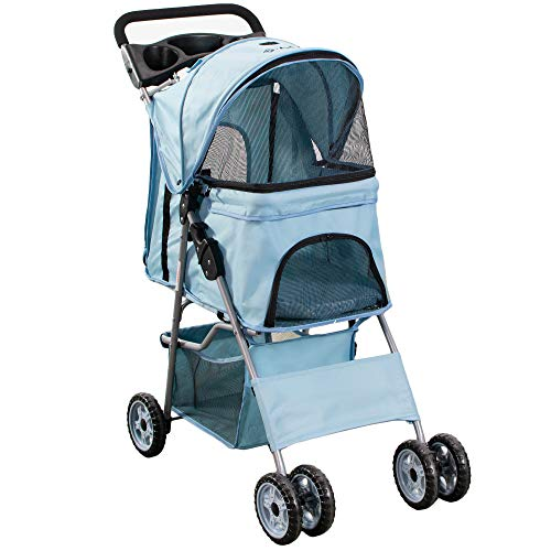 Our #4 Pick is the Vivo Black 4 Wheel Pet Stroller