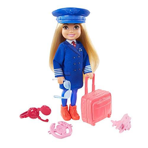 Barbie Chelsea Piloto de avión Muñeca rubia con accesorios de viaje de juguete, para niñas y niños +3 años (Mattel GTN90)