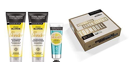 John Frieda Sheer Blonde GNTM Vorteilsset - Shampoo, Conditioner, Wunderkur, 600 ml
