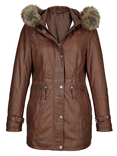 MONA Damen Lederjacke mit Stehkragen in Cognac aus Lammnappa aus 100% Lammnappa