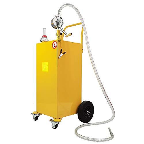 TRIL GEAR 30 Gallon Gas Caddy Oil Transfer Hand Pump Gasoline Diesel Storage Tank for Car Boat ATV Yellow w/ 4 Wheels