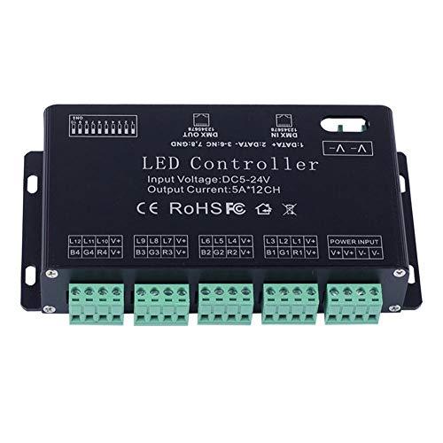 LED-Streifen-Lichter Fernbedienung Zubehör, 5 V DC 24V 12 Kanal RGB DMX 512 LED Controller Decoder Dimmer-Treiber for LED-Streifen-Modul-Licht für RGB LED Streifen-Lichter