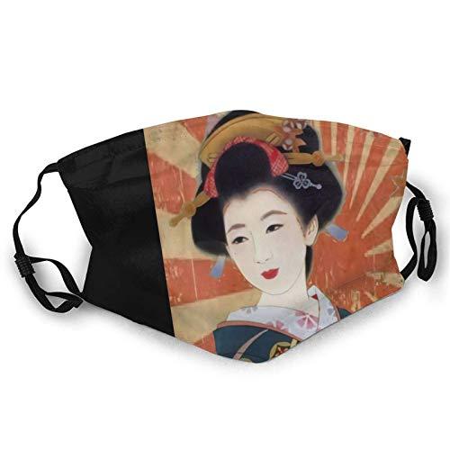 Mascarillas reutilizables para la cara, estilo vintage, rayos de sol, geisha japonesa, retro, pasamontañas, reutilizables y lavables, color negro