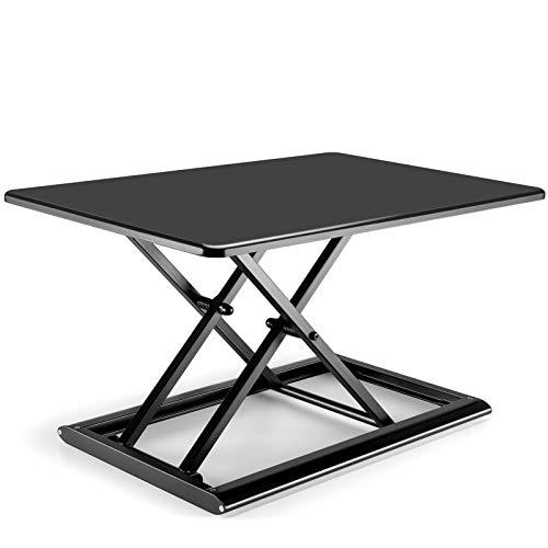 Viozon⾼さ調整可能 昇降式 多機能テーブル スタンディ ングデスク オフィスワーク テーブル/デスク/⾷卓 ダイニ ングテーブル 折りたたみ無 段階座位⽴位両⽤オフィスワ ークテーブル 76 x 51cm(黑)