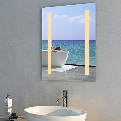 Meykoers Beleuchteter Badezimmerspiegel 45x60cm Badspiegel LED Spiegel Warmweißes Licht Energie sparen IP44
