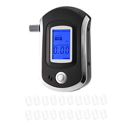 KKmoon Alcoholímetro Digital con 20 Boquillas, Probador Portátil de Alcohol con Pantalla LCD con Aliento Alerta Audible