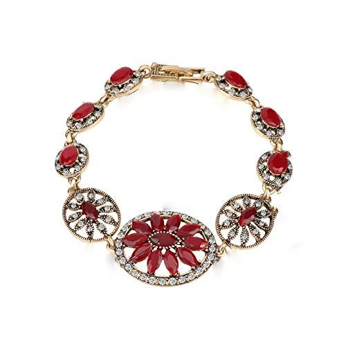 Pulseras rojas de la moda de oro pulsera para las mujeres joyería regalos de cristal vintage pulsera de color dorado