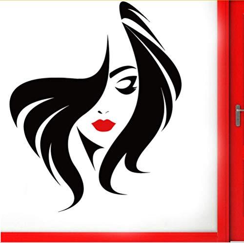 Personalizar Peluquería Peinado Pared de cristal Puerta Ventana Vinilo Pegatina Salón de belleza Cara de mujer Con Labio Rojo Diy Murales 57 * 70 CM