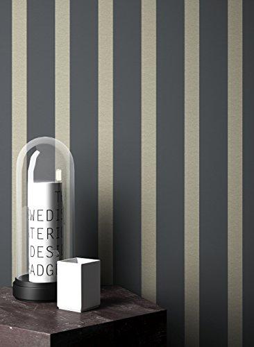 NEWROOM Tapete Blau Streifen Linien Modern Papiertapete gold Papier moderne Design Optik Streifentapete Landhaus inkl. Tapezier Ratgeber