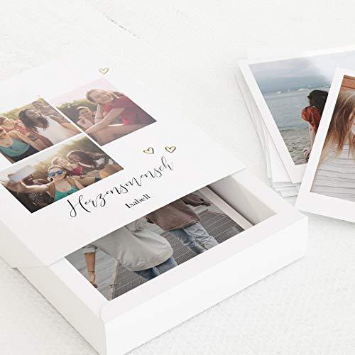 sendmoments Fotoboxen Freunde, Fotoschachtel Herzensmenschen, personalisierte Bilderbox 112x130 mm mit eigenem Bild und individuellem Text, inklusive 16 persönliche Fotos 88x105 mm im Retrofoto-Stil
