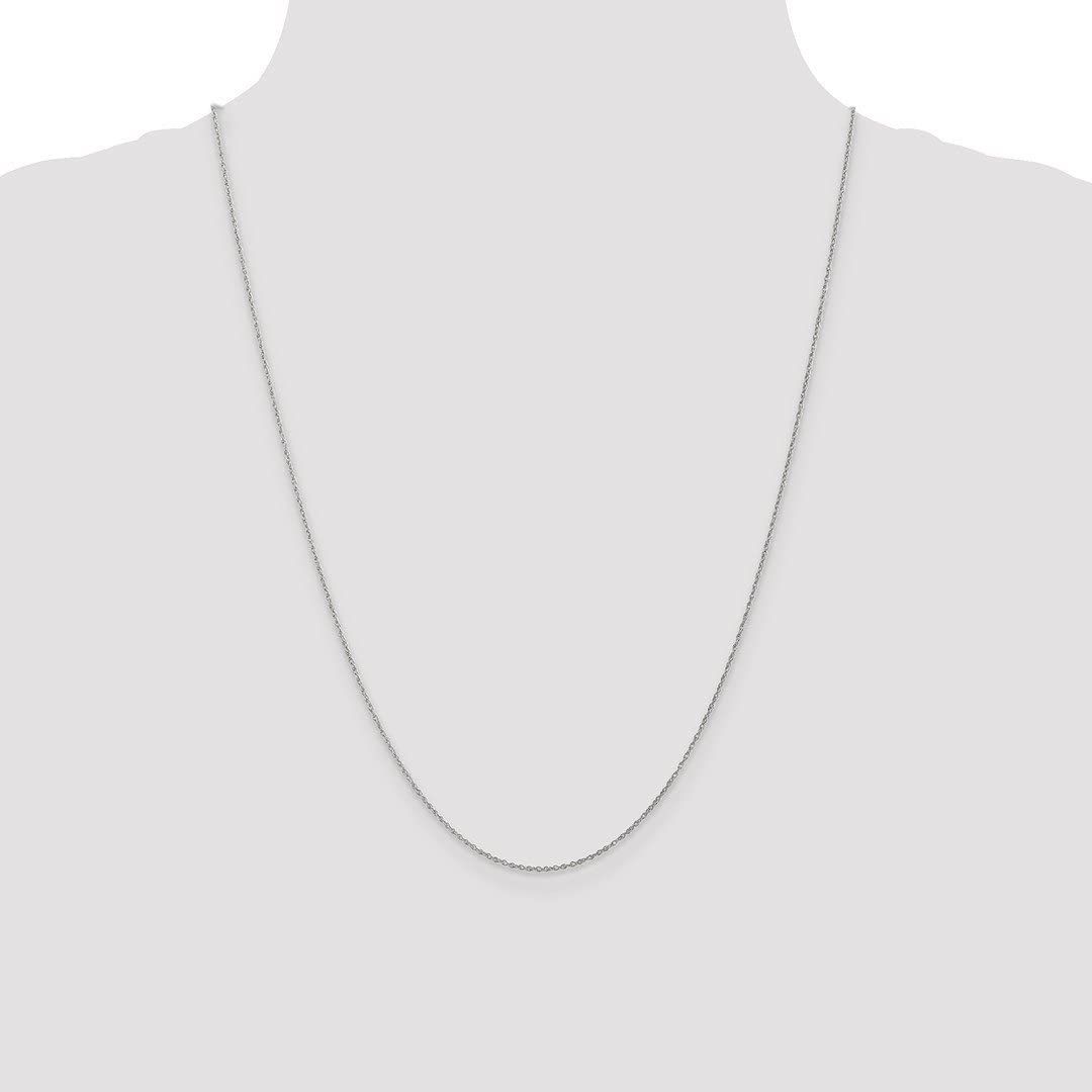 14k White Gold .8mm Baby Link Rope Chain Necklace 14 Inch Pendant Charm Fine Jewelry For Women Gifts For Her
