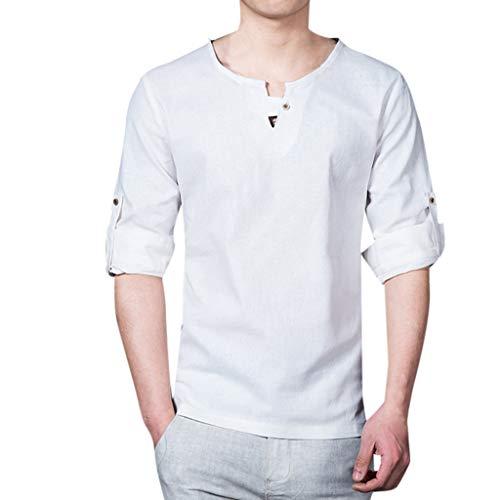 Xmiral Tee, T-Shirt Uomo Stretch SlimTee, T-Shirt Uomo T-Shirt Divertente Uomo Maglietta Maglia Maglietta Uomo T-Shirt Basic Aderente XXXXL Bianca