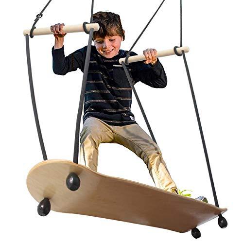 MZP in Legno Skateboard Dondolo, in Piedi Posto a Sedere Altalene, Regge per 300 kg per Bambini Adulti Giardino, Cortile, Interno Gioco all'aperto