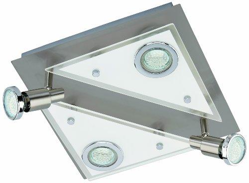 LED Deckenleuchte, Deckenlampe, Deckenspot, 4 x LED GU 10, 3 Watt, 250 Lumen, Strahler dreh- und schwenkbar, matt-nickel