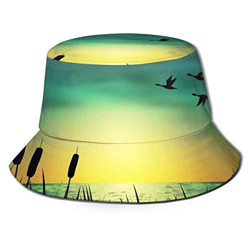 Sombrero para el Sol Unisex, Sombrero Boonie, Gorra de Cubo, Gorra de Safari, Gorra Lisa Informal, Gorra de Pescador, Gorra de Playa, Gorra de Pescador con Silueta de Gansos y totora