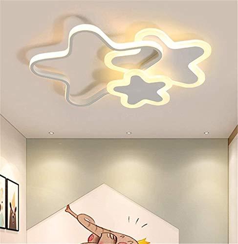 LHY LOFT Estrellas LED Infantil Plafón,Infantil Lámpara De Techo,Infantil Habitación Plafón,Pintura Lateral Glow Ahueca hacia Fuera El Diseño De Protección Ambiental (Non-Polar dimming 52CM, White)