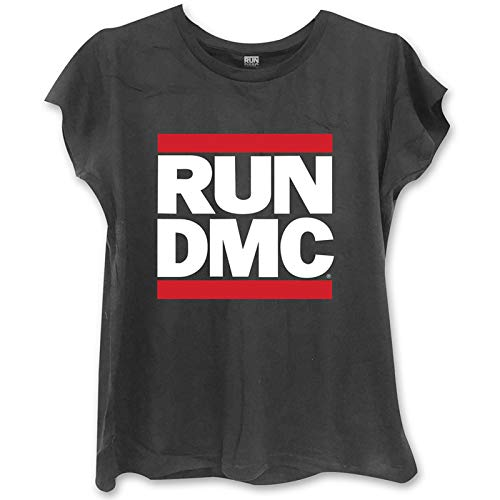 Band Monkey Run DMC Damen Fashion T-Shirt Logo Skinny Fit Schwarz Gr. Small, Schwarz